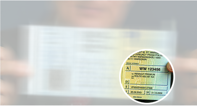 Sõiduki VIN kood on kantud registreerimistunnistuse